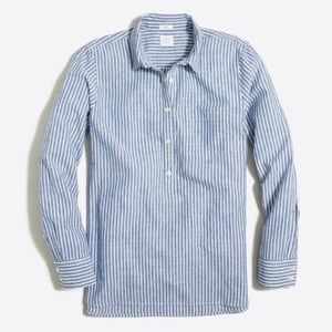 J Crew Washed Popover Shirt Blue Striped Shirt